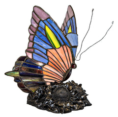 12557 Sunflower Butterfly Stained Glass Accent Lamp by River of Goods | 9 inches