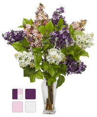 1256 Lilac Silk Flowers in Water in 4 colors by Nearly Natural | 24 inches