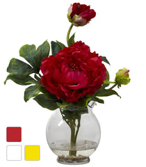1278 Peony Silk Flowers in Water in 3 colors by Nearly Natural | 13.5""