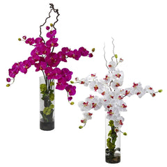 1288 Silk Phalaenopsis & Hydrangea in Water by Nearly Natural | 47 inches