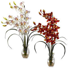 1293 Silk Cymbidium Orchids in Water in 2 colors by Nearly Natural | 28""