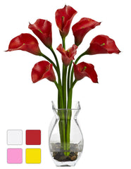 1296 Calla Lily Faux Flowers in Water in 4 colors by Nearly Natural | 16""