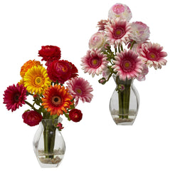 1298 Gerber Daisy Ranunculus in Water in 2 colors by Nearly Natural | 15""