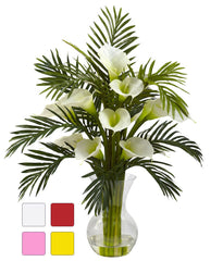1301 Faux Calla Lily & Palm in Water in 4 colors by Nearly Natural | 27""