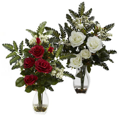 1308 Rose & Mixed Silk Flowers in Water in 2 colors by Nearly Natural | 21""