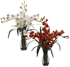 1322 Triple Faux Cymbidium Orchid in 2 colors by Nearly Natural | 29 inches
