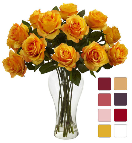 Rose Silk Flowers in Water with Diva Vase in 8 colors | 18 inches