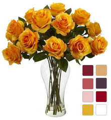 1328 Silk Roses in Water w/Vase in 8 colors by Nearly Natural | 18 inches
