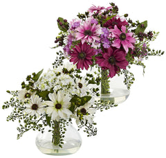 1354 Mixed Faux Daisy & Maidenhair in 2 colors by Nearly Natural | 11.5""