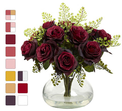 1366 Roses & Maidenhair Silk Flowers in 11 colors by Nearly Natural | 14""