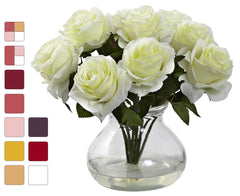 1367 Artificial Roses in Vase in 10 colors by Nearly Natural | 11 inches
