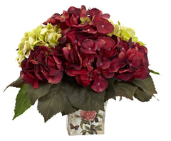 "1380 Green & Burgundy Hydrangea 11"" Arrangement w/Planter by Nearly Natural"