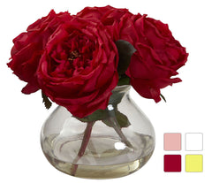 1391 Faux Fancy Roses w/Rosie Posie Vase in 4 colors by Nearly Natural | 8""