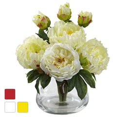 1400 Peony & Fancy Rose Silk Flowers in 3 colors by Nearly Natural | 14.5""