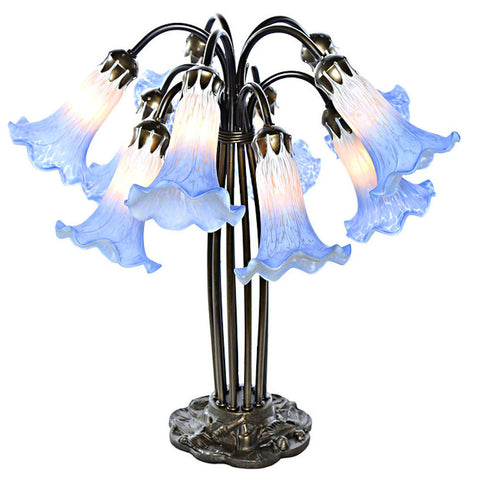 14711AB Blue/White Hand Painted Glass 10-Light Lily Lamp by River of Goods | 21 inches