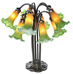 14711AE Green/Amber Hand Painted Glass 10-Light Lily Lamp by River of Goods | 21 inches