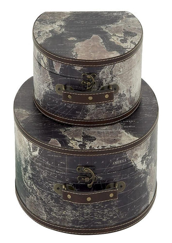 14850 Stanford World Map Faux Leather Wood Travel Hat Box Storage Set of 2 by Benzara