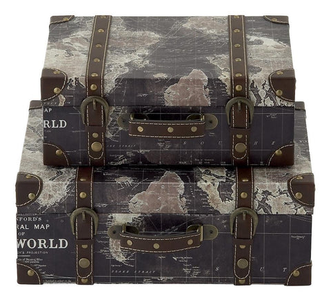 Stanford World Map Faux Leather Wood Suitcase Storage Box Set of 2
