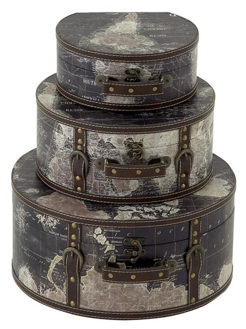 14853 Stanford World Map Faux Leather Wood Travel Hat Box Storage Set of 3 by Benzara