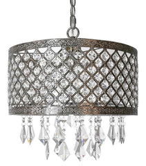 15023 Silver Lattice Jeweled 1-Light Portable Plug-in Pendant by River of Goods