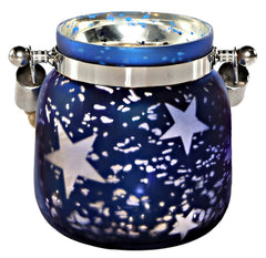 15128 Blue Stars Small Mercury Glass Jar LED Lights by River of Goods | 4.75""