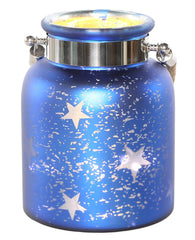 15131 Blue Stars Large Mercury Glass Jar LED Lights by River of Goods | 8.625""