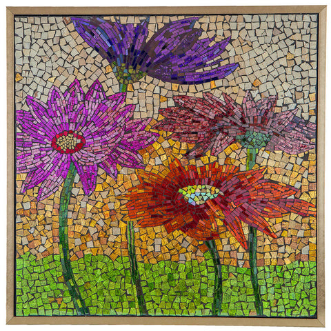 15146 Blooming Flowers Mosaic Glass Art by River of Goods | 27.5 inches
