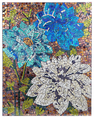 15147 Blue Dahlias Mosaic Glass Art by River of Goods | 22x28 inches
