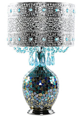 15570S Poetic Wanderlust by Tracy Porter Mattei Jeweled Table Lamp with Mosaic Base | 21.75 inches by River of Goods