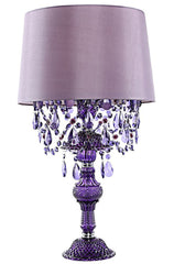 "15576 Poetic Wanderlust by Tracy Porter Alisal Purple Table Lamp with Cascading Crystals | 26"" by River of Goods"
