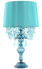 "15577 Poetic Wanderlust by Tracy Porter Alisal Blue Table Lamp with Cascading Crystals | 26"" by River of Goods"