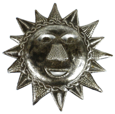 HMDFACEMED_534014 Happy Sun Face Oil Drum Metal Wall Art 8"