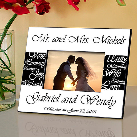 Mr & Mrs Wedding in 6 Colors | Personalized Picture Frame 4x6 Photo