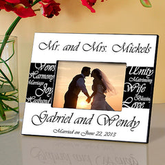 GC430 Black and White Mr & Mrs Wedding in 6 Colors | Personalized Picture Frame 4x6 Photo