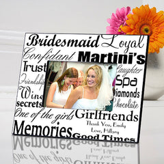 GC515 Black on White Bridesmaid Wedding in 7 Colors | Personalized Picture Frame 4x6 Photo