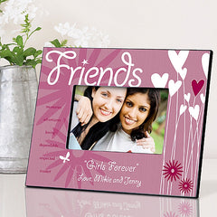 GC737 Friends Hearts & Flowers in 4 Designs | Personalized Picture Frame 4x6 Photo