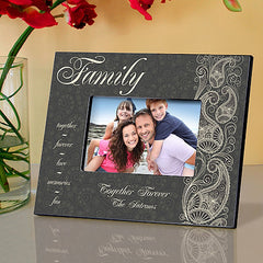 GC742 Family Pretty Paisley in 4 Designs | Personalized Picture Frame for 4x6 Photo