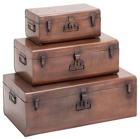 23929 Copper Colored Metal Suitcase Storage Trunk Set of 3 by Benzara