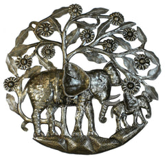 HMDELE Elephant Calf Flowering Tree Oil Drum Metal Art 24"