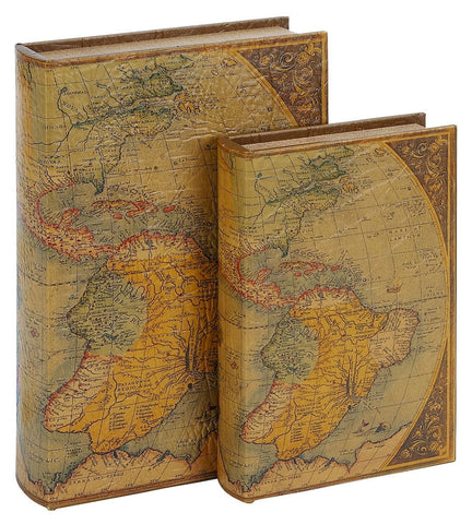 66966 Old America Map Faux Leather Wood Book Box Storage Set/2 by Benzara