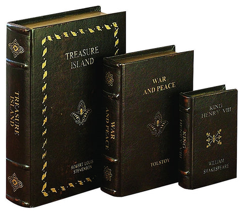 72700 Literary Classics II Faux Leather Wood Book Box Set/3 by Benzara