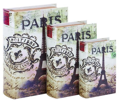 72193 Eiffel Tower Paris Faux Leather Wood Book Box Storage Set/3 by Benzara