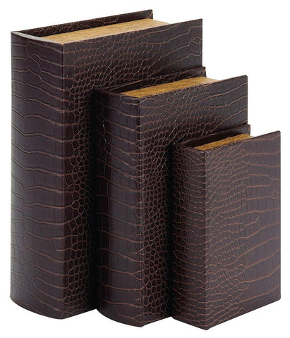 72133 Faux Crocodile Leather Wood Book Box Storage Set/3 by Benzara