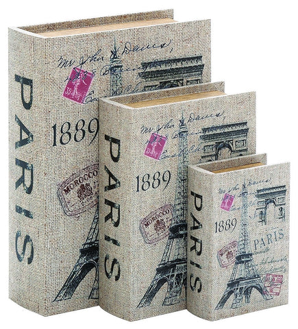 40974 Paris 1889 Canvas Wood Faux Book Box Storage Set/3 by Benzara