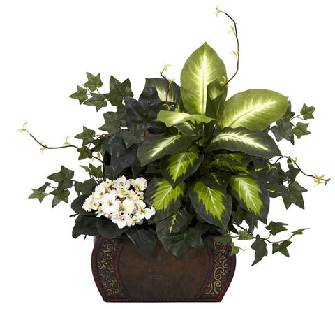 6684 African Violet Dieffenbachia Ivy Arrangement by Nearly Natural | 20""