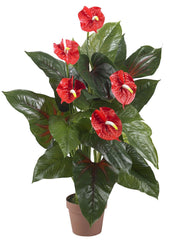 6619 Anthurium Silk Flowering Plant with Planter by Nearly Natural | 3 feet