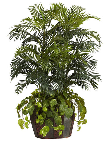6634 Double Areca Palm & Pothos Silk Tree by Nearly Natural | 4.5 feet