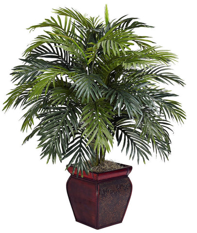 6686 Areca Palm Silk Plant with Wood Planter by Nearly Natural | 38 inches