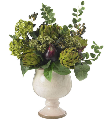 4759 Artichoke & Hydrangea Silk Arrangement by Nearly Natural | 15 inches