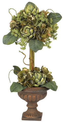 4633 Artichoke Silk Topiary Arrangement by Nearly Natural | 24 inches